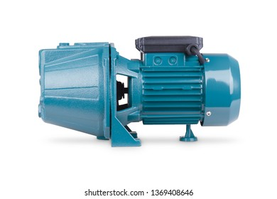 Blue pump to supply water to station water supply. Isolated white background. Iron body of pump, pressure sensor. Blue color station. Application private homes, country house, village, cottage.
