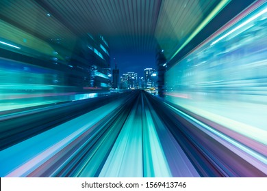 Blue and purple abstract high speed movement toward to the future of the city, concept. - Shutterstock ID 1569413746