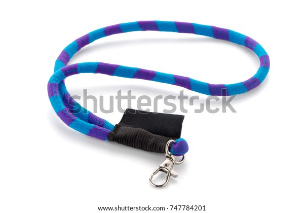 Blue and purple elastic textile lanyard isolated on white background.