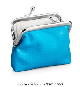 blue purse isolated on white background