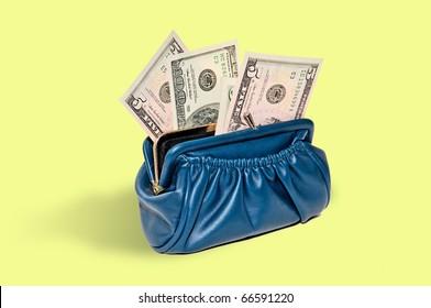 blue purse with money in dollars as a fan