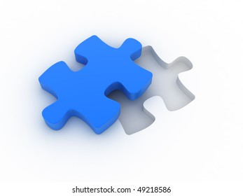 A blue puzzle is cut out of a white plane. Concept image for strategy, inspiration, organization,...