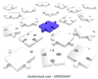 Blue puzzle piece in the middle of randomly stacked white puzzle.3d illustration