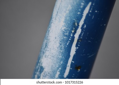 Blue pvc pipe closeup.