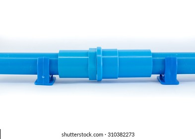 blue PVC pipe connections and Pipe clip isolated on white background