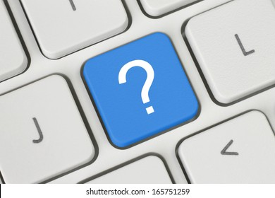 Blue question button on the keyboard