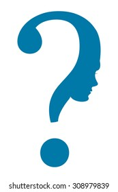 Blue Question Mark Head Infographics Flat Icon, Sign Isolated on White Background