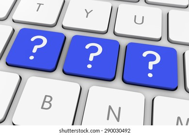 Blue Question Mark Icon Computer Keys on White Keyboard