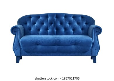 Blue quilted fabric classic sofa isolated on white background. Series of furniture