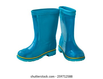 Blue rain boots on a white background isolated