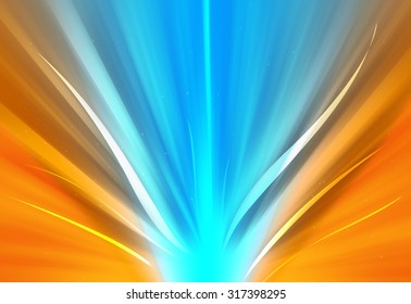 Blue ray and orange glitter sparkle defocused rays lights bokeh abstract background.
