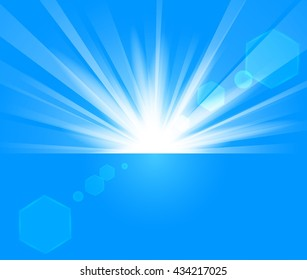 Blue Rays rising from horizon in light background