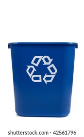 A blue recycle can  on a white background with copy space