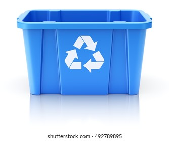 Blue recycle crate (recycle bin) on white reflective background - 3D illustration