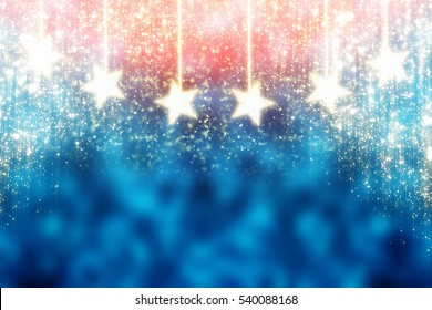 Blue and Red Abstract Christmas Background with Golden stars and  glitter or bokeh lights. Round defocused particles