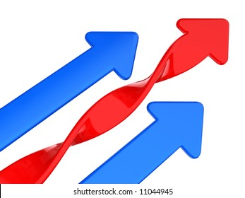 blue and red arrow