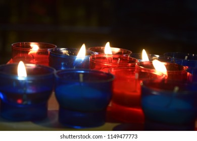 Blue and Red Candles