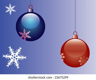 blue and red christmas decoration ball