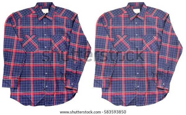 Blue red cotton plaid shirt faded stone washed
