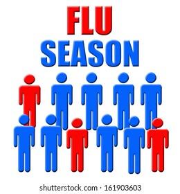 blue and red figures flu season poster illustration