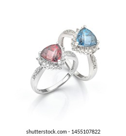 Blue and Red Gemstone Pair of Rings. Diamond Cluster Rings in White Gold.