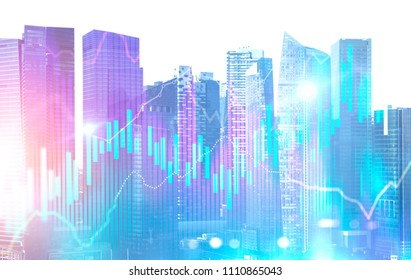 Blue red glowing Forex style graphs and bar charts immersive interface against a city view background. Concept of stock and exchange. Business abstract infographics Toned image double exposure mock up