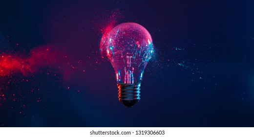 blue and red image of bulb explosion background
