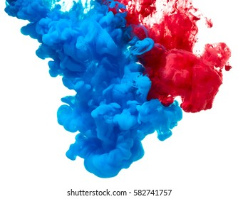 Blue and red ink splash isolated on white background