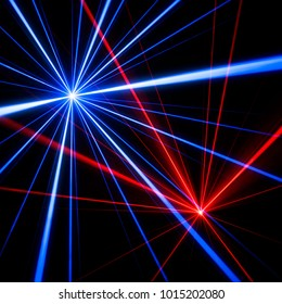 Blue and red laser beam light effects on black background