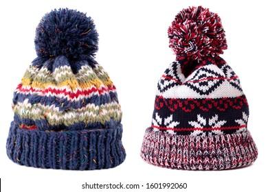 Blue red pattern winter bobble ski hat