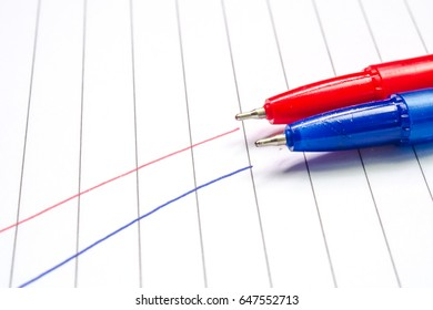 Blue and red pen isolated on a paper Background Best