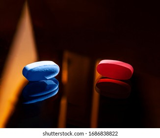 Blue and red pills, tablets capsule on dark backround. Concept of coronavirus on style of matrix.