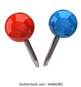 Blue and red Pushpins