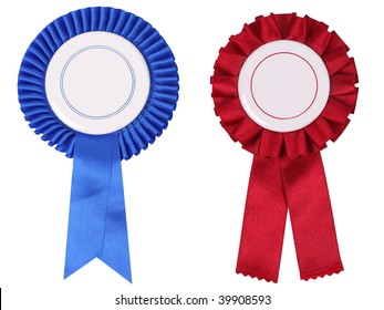 Blue and red rosettes, with copy space put your own text into it :)