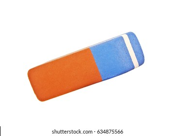 Blue and red rubber pen eraser isolated on white background