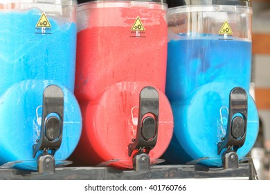 Blue and red slush puppy ice drink containers