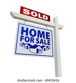 Blue and Red Sold Home for Sale Real Estate Sign Isolated on a White Background.