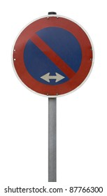 blue and red stopping restriction sign isolated on white