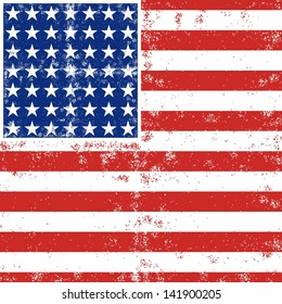 blue red white stripes and stars grunge patterned american flag background raster version