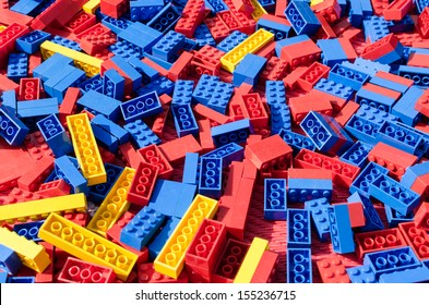 Blue, red and yellow lego toy bricks background