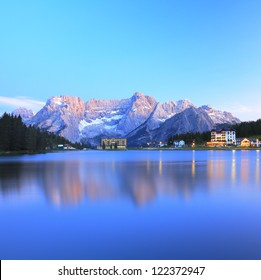 Blue reflection of lake Misurina, Italy