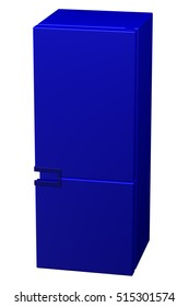 Blue refrigerator, isolated on white background. 3D rendering.