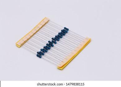 Blue resistor in row.Resistors in electronic.Resistor on white background