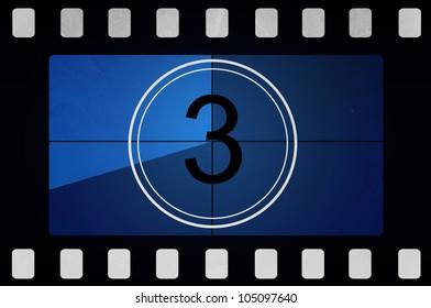 Blue retro Film countdown 3
