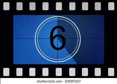 Blue retro Film countdown 6