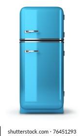 Blue a retro the fridge. 3d image. Isolated white background.