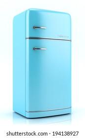 Blue retro refrigerator isolated on white background