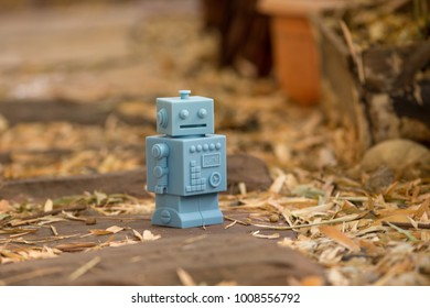Blue Retro robot toys in Natural background.