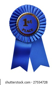 Blue ribbon award isolated on white background with clipping path.