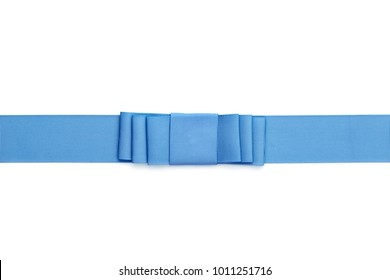 Blue ribbon bow, isolated on white.  Ribbed, formal folded style.